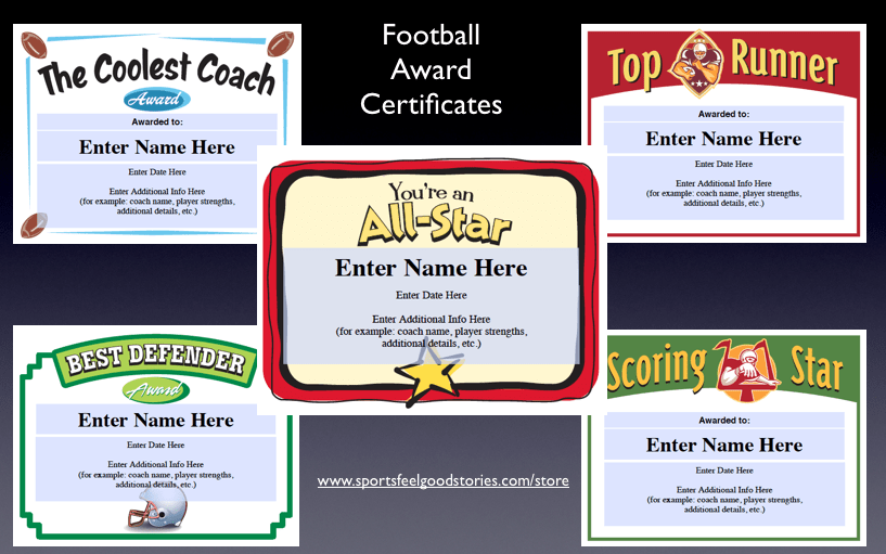 Award certificate templates for football