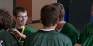 Youth football team makes a winning call