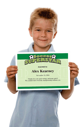 Soccer certificates personalized image