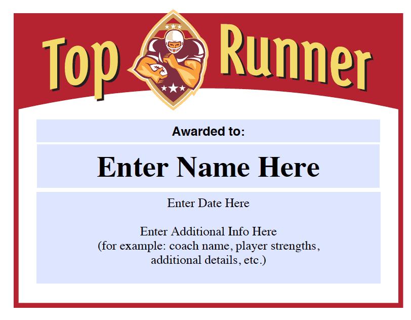 top runner football award certificate