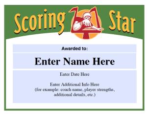 Scoring Star football award template