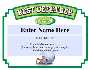 Best Defender football certificate