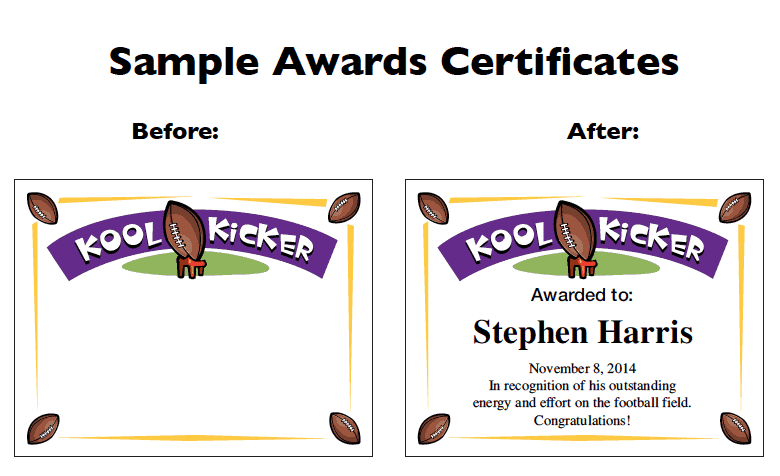 Football Award Templates and Coaching Forms   Certificates
