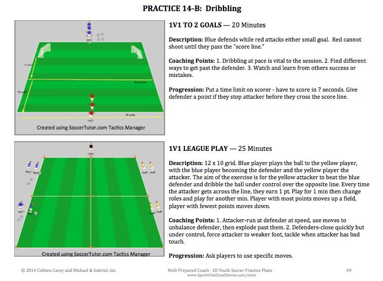 Dribbling skill in soccer practice plans