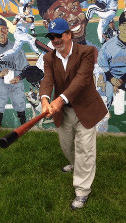 Mike Veeck outside Midway Stadium