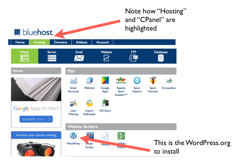 The Bluehost control panel