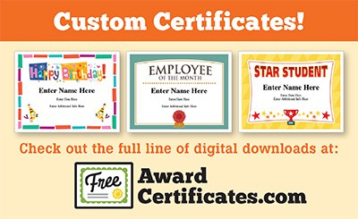 Team award certificates image