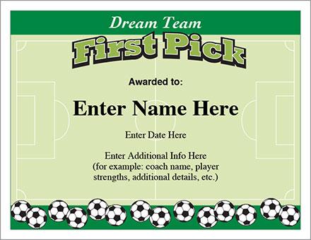 Team award certificates image