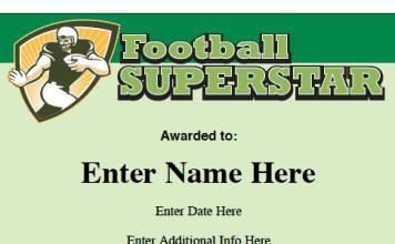 sports award certificates