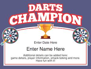 Darts certificate image