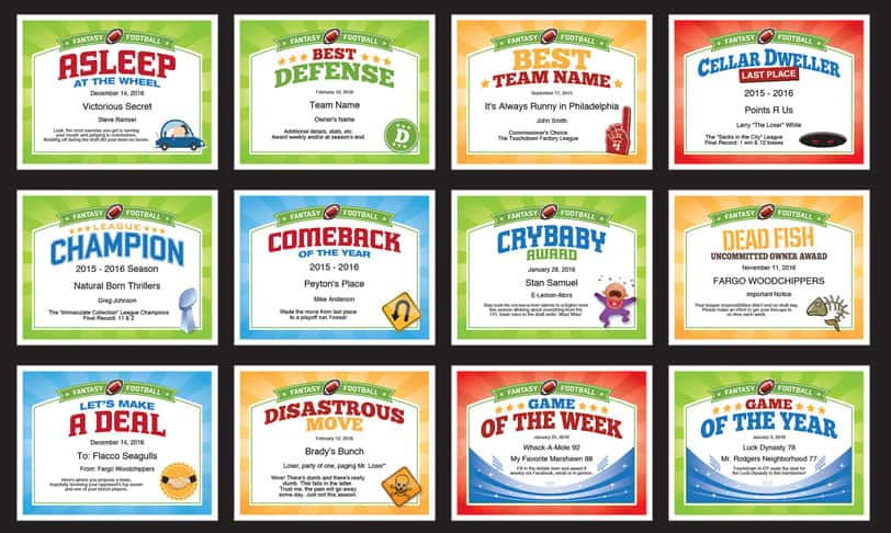 Fantasy Football Certificates Grid A