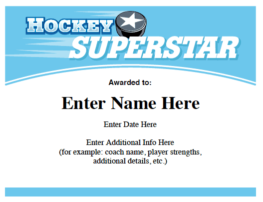 hockey certificates templates awards certificate award template sports participation teams printable team card sportsfeelgoodstories slogan resume quotes paper cards