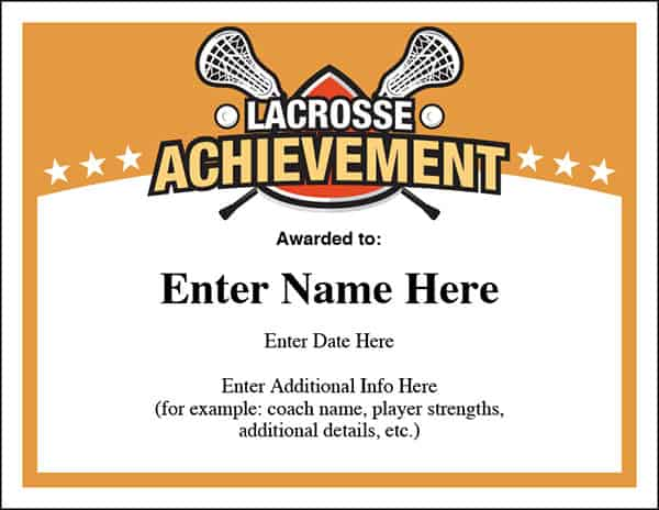 Achieve sports feel good stories lacrosse certificates templates image yadclub Choice Image