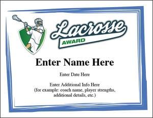 lacrosse award certificates image