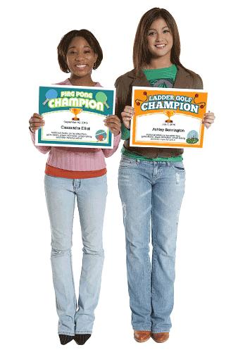 Ping Pong Champion Certificate girls image