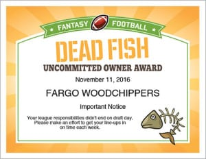 Fantasy football award image