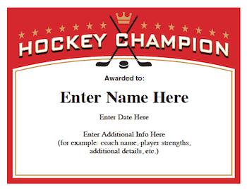 youth sports photography templates - hockey certificates templates awards for hockey teams