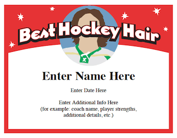 hockey hair certificate award image