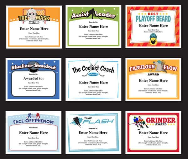 Hockey Certificates Templates Awards For Hockey Teams