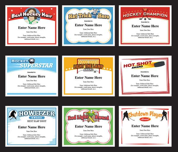 Hockey Certificates Templates | Awards for Hockey Teams