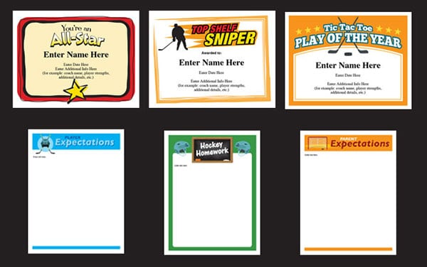 Certificate templates for hockey image