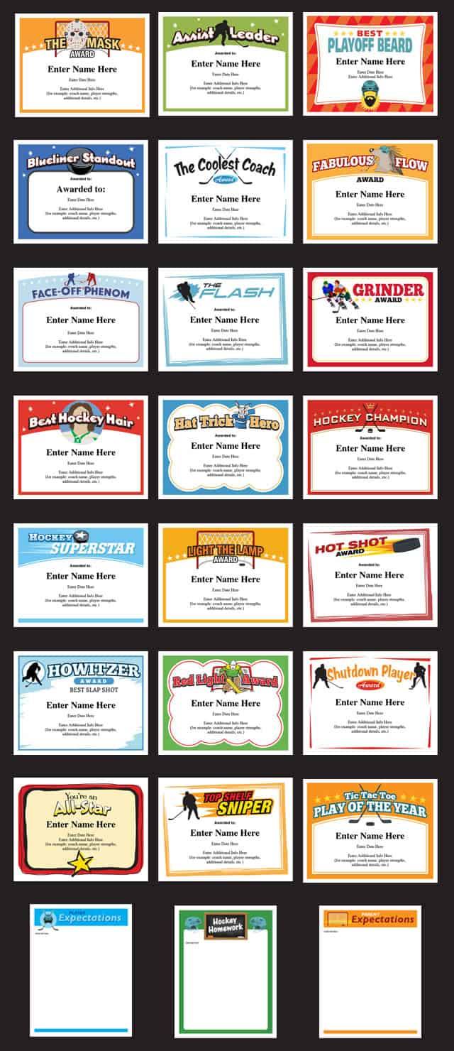 hockey certificates bundle image