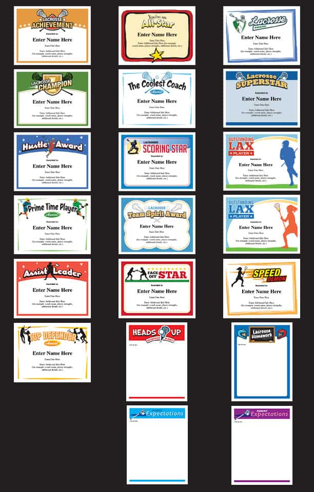 Lacrosse certificates templates for boys and girls image