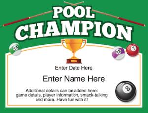 Pool certificate image