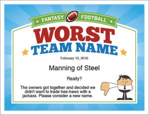 worst team name for fantasy football certificate