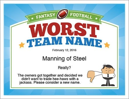 fantasy football champion certificate image