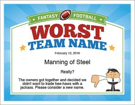 Worst team name for Fantasy Football certificate