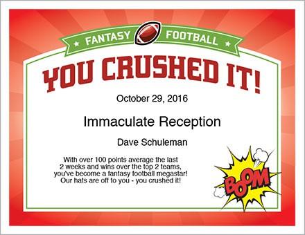 fantasy football champion certificate image