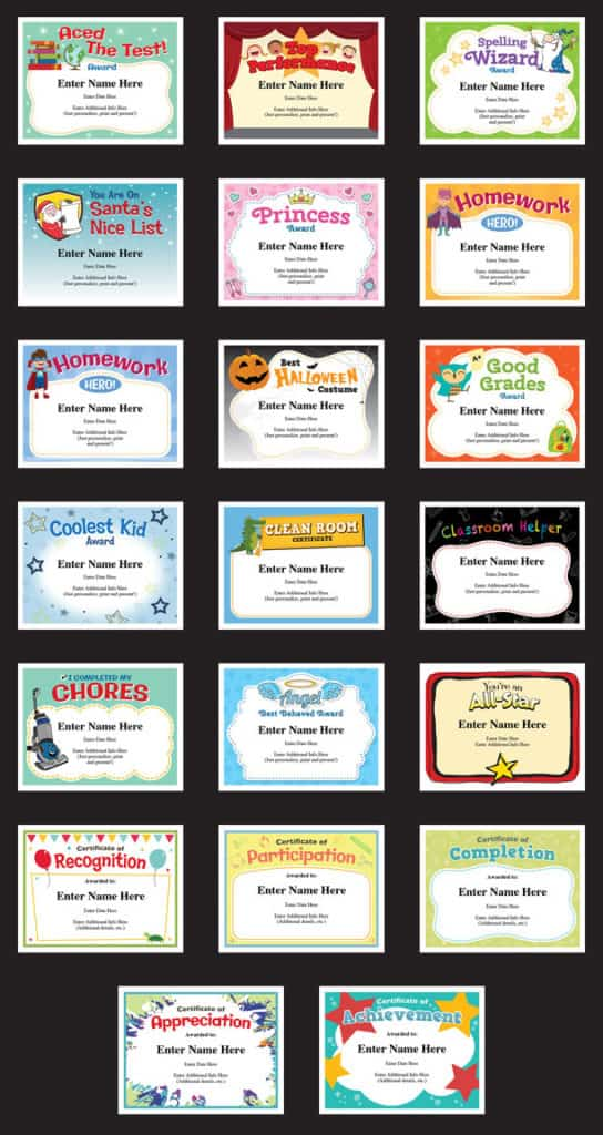 achievement certificates for a child image