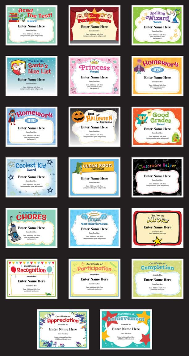 achievement certificates for a child image