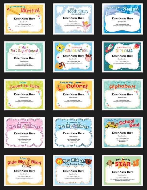 kids certificates milestones image