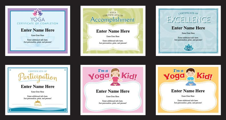 Yoga Certificates Templates | Yoga Instructor Awards | Yogi