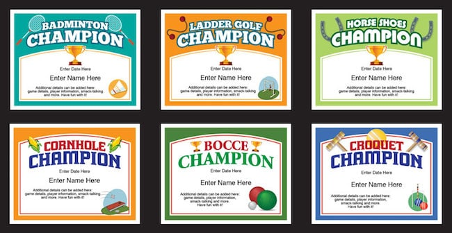 backyard games certificates templates image