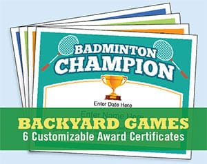 backyard games certificates templates image