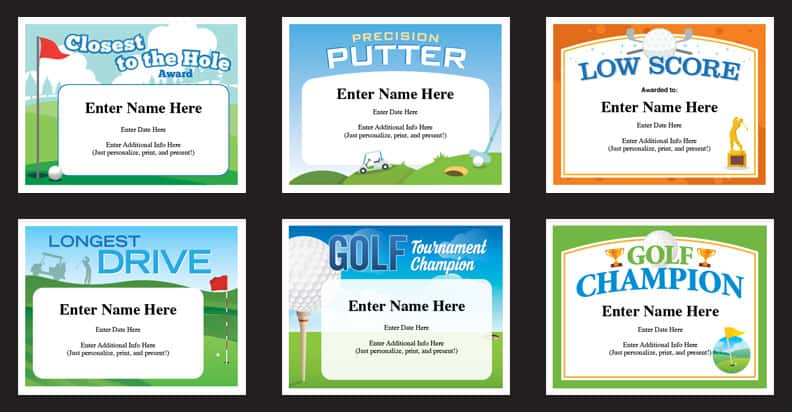 Golf Certificates Templates Recognition And Awards For Golfers