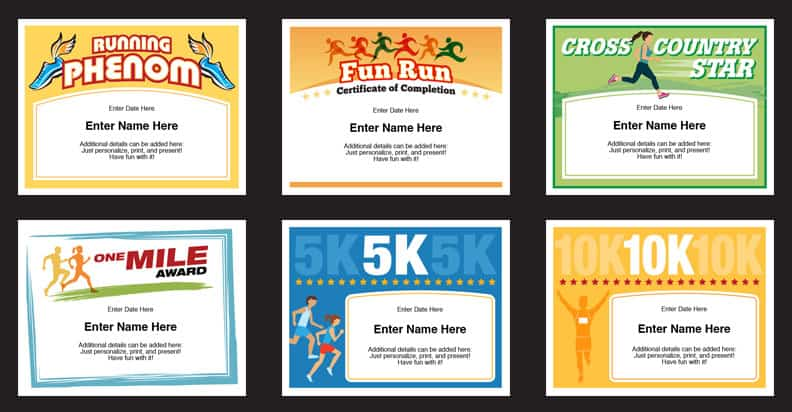 Running Certificates Templates  Runner Awards Cross Country