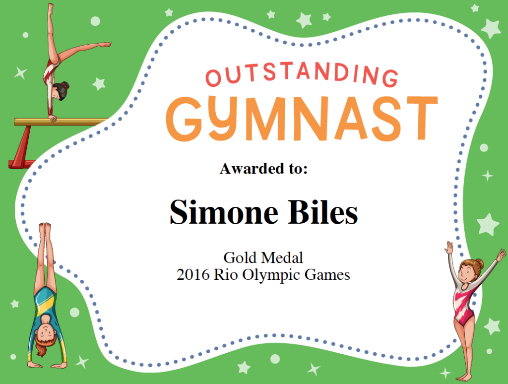 Gymnast Award Certificate Template Image