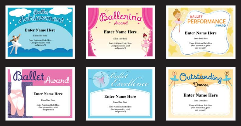 ballet certificates of achievment grid
