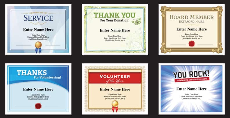 non profit award certificates to recognize volunteers, staff and donors