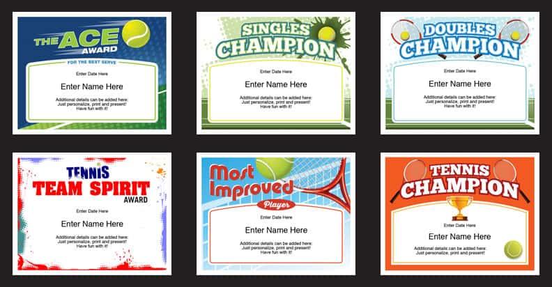 Tennis Certificates Templates | Tennis Awards | Participation