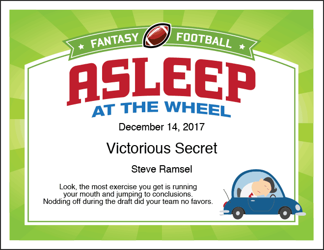 Asleep at the Wheel fantasy football certificate image