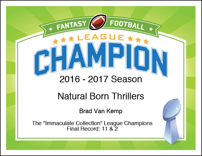 Fantasy Football League Champion certificate image