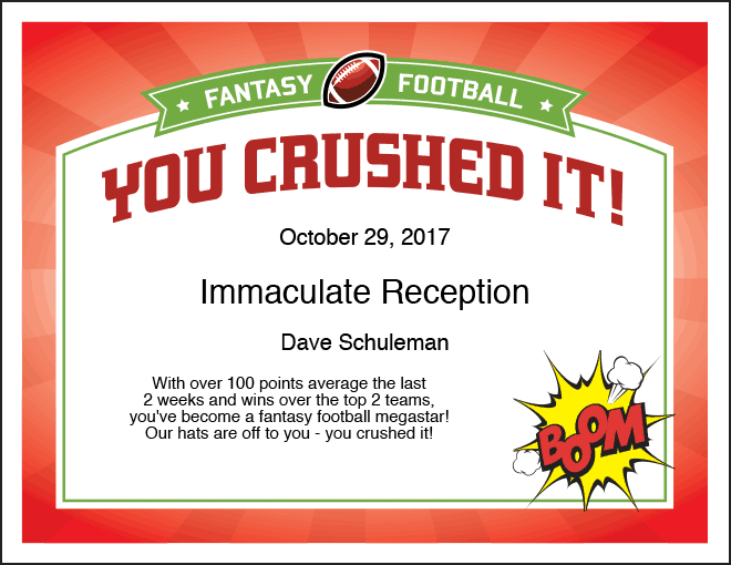 You Crushed It Fantasy Football Certificate image