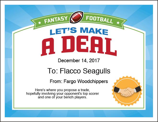 Let's Make a Deal Fantasy Football Certificate image