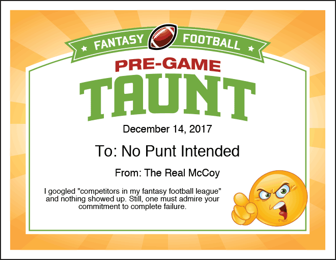 Pre-Game Taunt Fantasy Football Certificate image