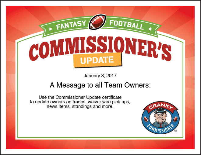 Commissioner's Update Fantasy Football Certificate image